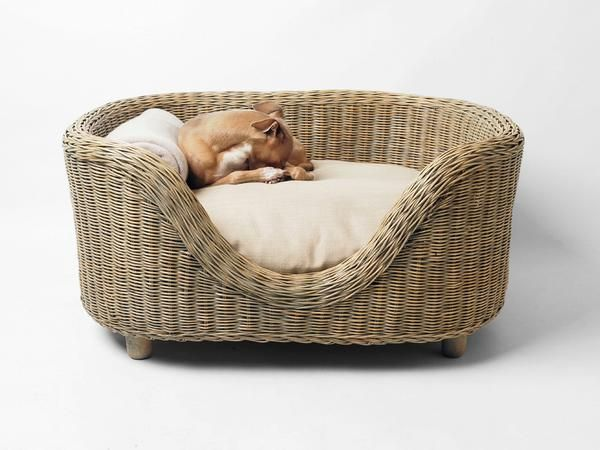 Wicker dog bed